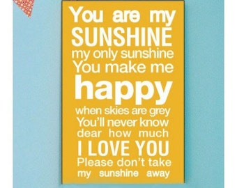 You Are My Sunshine Print, You Are My Sunshine Wall Art, You are my Sunshine Art Print