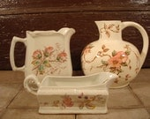 Three white pitchers- Nasco Springtime, floral milk pitcher and gravy boat, vintage, good condition for one price