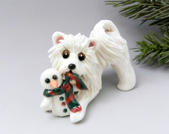 Samoyed Dog Christmas Ornament Figurine Snowman Porcelain
