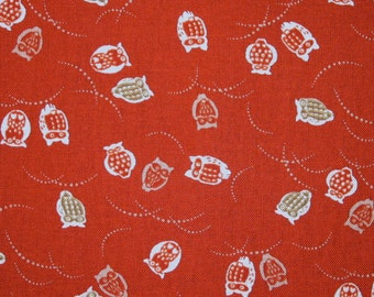 Japanese cotton prints - 1/2 yard of small red owls