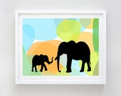 Mama and me -  Kids Art Prints, mother and baby elephant, damask design, mothers day, nursery decorating ideas