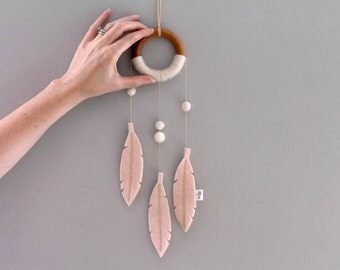 Nursery Decor Dream Catcher. Peach Felt Feather Wall Hanging. Baby Girl Nursery or Bedroom. Bohemian Modern Dreamcatcher Decor.