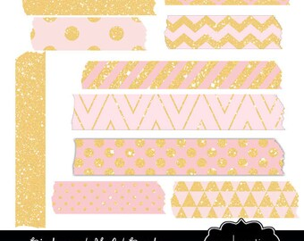 Pink and Gold  - Washi Tape- Digital Clipart Elements Commercial use Instant Download