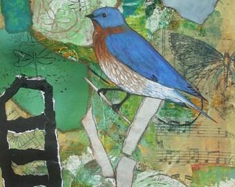 In My Garden mixed media 9 x 12 print.