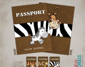 Custom Jungle Safari Passport Birthday Party Invitation, Printable Children's Animal Birthday Invite #B117