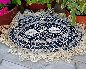 Antique Crochet Lace Velvet Pillow