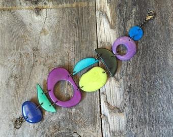 Purple blues chartreuse bracelet
