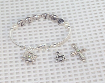 Newborn Name & Birthstone Bracelet With Charm - Silver or Gold - Baby,Toddler, Young Girl, Keepsake, Birthstone Bracelet