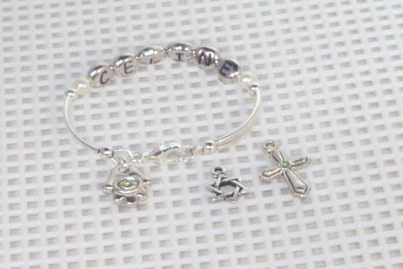 Newborn Name & Birthstone Bracelet With Charm - Silver or Gold - Baby,Toddler, Young Girl, Keepsake, Birthstone Bracelet