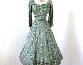 vintage 1940's dress...  pretty BLOOMFIELD by cirilo satin floral asymmetrical bow bust FISH TAIL skirt pin-up party dress