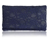 Large navy lace Astrid clutch purse
