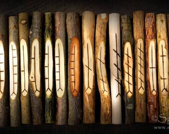 Corresponding Ogham staves - 20 different Celtic woods, Pagan divination, Wicca gift idea, unusual gift, best ogham set, Celtic ogham uk