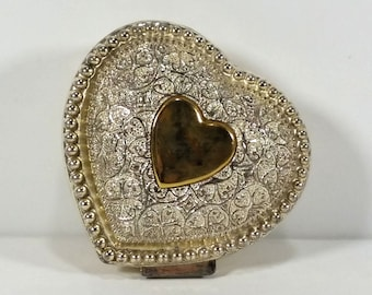 Silver-Toned Metal Heart Shaped Trinket Box, Hinged Lid, Lined with Ruby Red Velvet