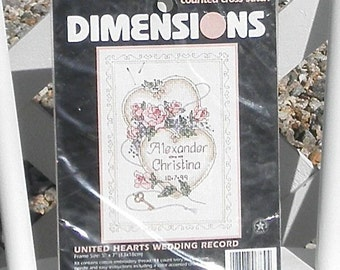 United Hearts Wedding Record Counted Cross Stitch Kit by Dimensions Vintage