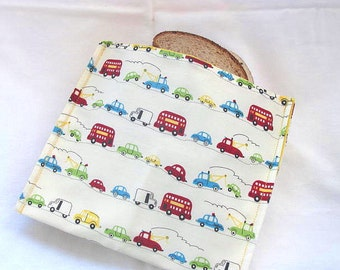 Reusable Sandwich Bag Large Size Lunch Sack Cars Trucks Buses Theme Lunch Bag Food Storage Ready to Ship Back To School