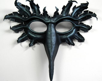 Raven mask, hand-molded leather, hand-painted in black and blue pewter, corvid, crow, bird, Halloween