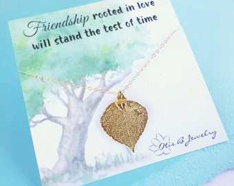 Gold leaf necklace, Friendship necklace with message card, fall wedding, Aspen leaf, Bridesmaid gift, leaf jewelry, bridal jewelry