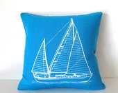 Pillow Cover Cushion Cover Sailboat - 12 x 12 inches - Choose your fabric and ink color