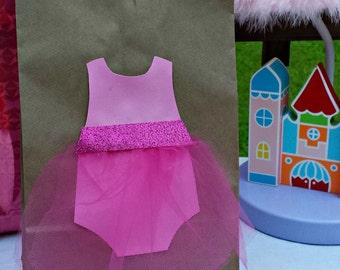 Pink Ballerina Tutu Themed Treat Sacks for Birthday Party Goody Bags
