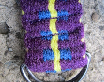"""D-Ring Belt - Purple with Blue Step and yellow center border - 45 1/2"""" long x 1 1/2"""" wide. Ready to Ship. Hand woven on homemade inkle loom."""