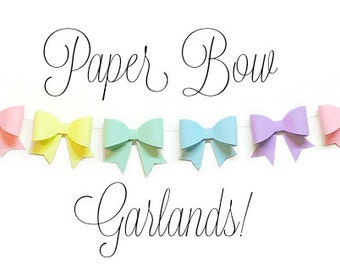 Handcrafted Paper Bow Garland, Easter Garland, Modern Nursery, Baby Shower Decor