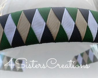 Woven Headband Forest, Dark Navy, Oatmeal and White   Uniform - Back to School