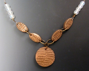 Unique Golden Bronze and Glass Textured Link Necklace OOAK