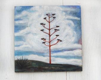 Desert Landscape Painting, Century Plant, Agave, Cactus Painting, Desert Decor, Southwest Landscape, Clouds, West Texas