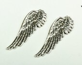 Wing Stamped Charm, 52mm  left facing Vintage silver finish, pack of 2 13192