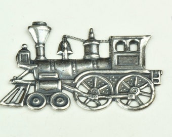 Steam Engine Railroad Stamping, Brass and plated antique silver, sold 2 each 15116