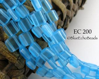 6mm Czech Glass Translucent Matte Turquoise 2 Hole Square Tile Bead (EC 200) 25 pcs BlueEchoBeads