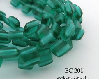 6mm 2 Hole Czech Glass Translucent Matte Green Square Tile Bead (EC 201) 25 pcs BlueEchoBeads