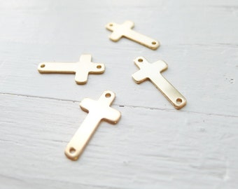Gold Filled Sideways Cross Pendant Goldfilled Crosses Charm (CHGF1044)