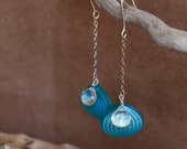 Summer sea earrings, sterling, quartz, glass