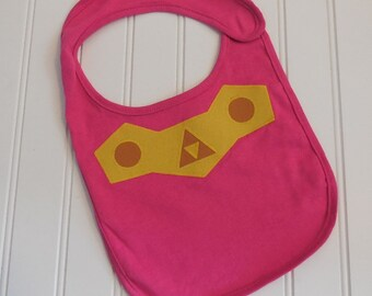 READY TO SHIP Legend of Zelda inspired Princess Zelda 100% cotton appilque bib for baby and toddlers