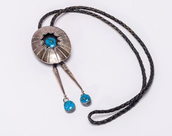 Turquoise Bolo Necklace - 60s/70s  Navajo Signed - Fancy Tips - Best Buy