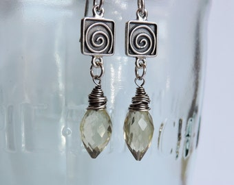 Sterling Silver Swirl and Wire Wrapped Lemon Quartz Earrings