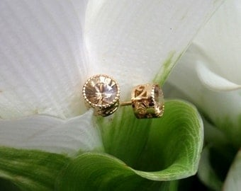 Lemon Zircon Stud Earrings, Top Quality Natural Zircon Stud Earrings in Handforged 18k Yellow Gold Settings, Ready to Ship