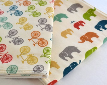 Set of 2 Organic Burp Cloths . Bicycle & Elephant . Organic Baby Girl or Boy Shower Gift