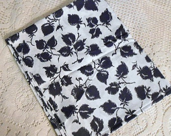 "BLACK LEAVES on White LINEN Fabric Steampunk Nature Print Slub Texture, Sewing Projects Clothing Top Blouse Pillowcase 44"" by 1.5 yds"