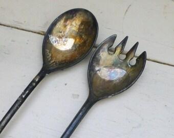 Silver plated salad serving set, silver spoon, silver fork, silver serving utensils, tarnished silver, old serving set, wedding present