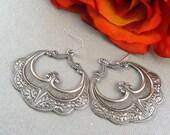 Cyber Monday sale Large Silver Earrings, Gypsy Girl Earrings, Vintage Inspired, Marrakeesh Earrings, Hoop Earrings, Antique Silver Earrings