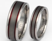 Titanium Wedding Band Set - Thin Red Line Rings - His and Hers Matching - sa12 Red