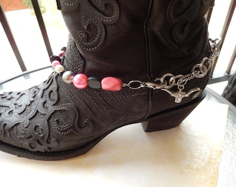 Boot Bracelet with Pink Cross and Longhorn charm - Free Shipping