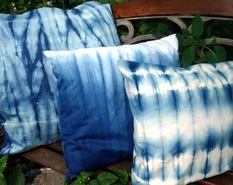 """Indigo Shibori EgyptianCotton Pillow Cover Natural Plant Dye Blue and White 19"""" x 18"""" Hand Dyed Decorative Indigo One  Pillow Cover"""