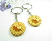 BFF Waffle Friendship Keychain Keyring Friendship best friend gift keychain key chain key ring best friend keychain for 2 waffle keychain