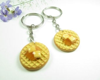 BFF Waffle Friendship Keychain Keyring, Best friend gift, Parks and recreation, rec key chain, waffle keychain, best friend keychain, cute