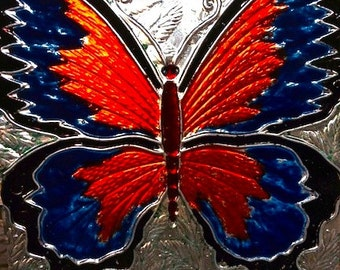 """Brilliant Fused Glass 10 x 10"""" Butterfly Sun Catcher!"""