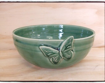 Beautiful Butterfly Bowl in True Green by misunrie