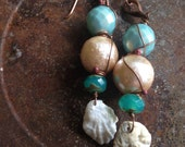 Artisan Handmade Beach Seashell Earrings Mint Copper Neutral Fashion Over Forty Boho Bohemian Gypsy
